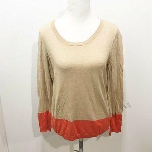 Talbots Size L Sweater Beige Orange Color Block
